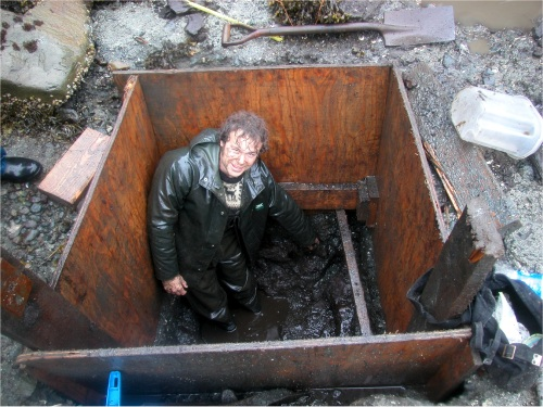 Duncan with his feet in a 12,000 year old bog