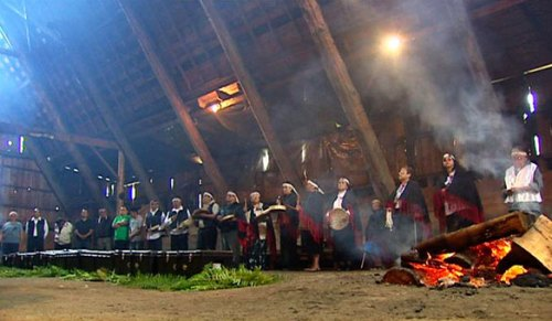 Inside the Tseycum Longhouse.  Click Image for etended video.