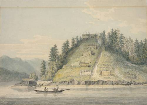 Village of the Friendly Indians near Bute's Canal.  Watercolour by William Alexander.  Source: University of Illinois.