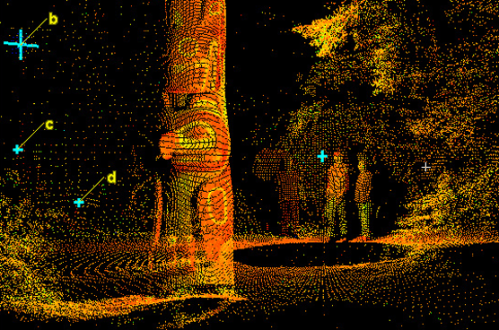 Lidar model merged with photograph to document carved pole, Sitka, Alaska.  Source: NPS.