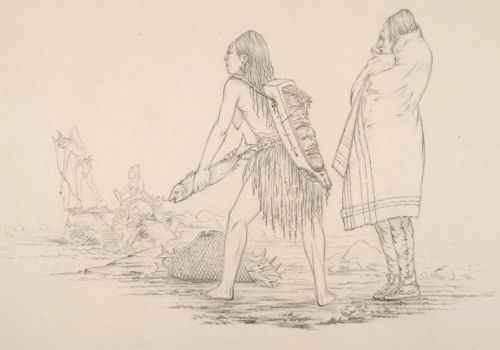 Fishing at the Dalles, 1850, pencil drawing by George Catlin. Source: NYPL.