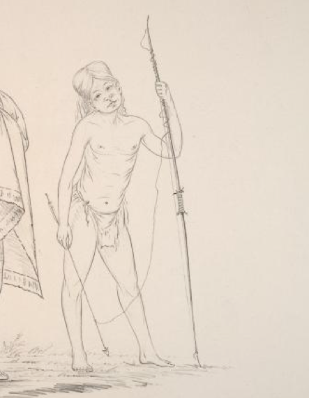 Detail of the boy with the arrow-harpoon.  1850 pencil drawing by George Catlin.  Source: NYPL.