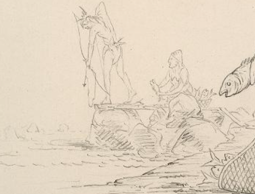 Detail showing use of arrow-herpoon at the Dalles.  1850, by George Catlin.  Source: NYPL