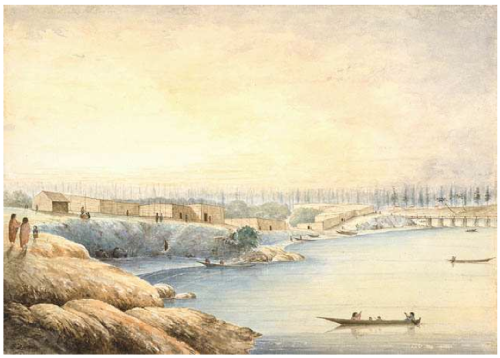 """Edward Parker Bedwell Songhees Village 1864. Source: """"Digging for Gold"""" pamphlet."""