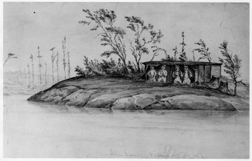 """Indian Graves in Victoria"". Ca. 1849-1853 sketch by W.B. McMurtrie. Source; Museum of Fine Ats, Boston."