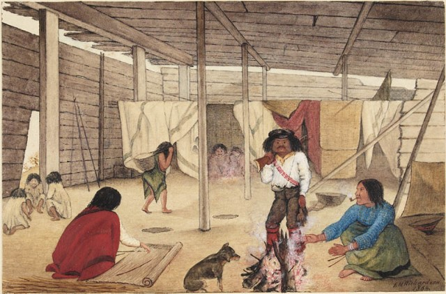 Interior of a Salish Longhouse, 1864. Watercolour by Edward Mallott Richardson.  Locale uknown. Source: Canadian Archives.  Click to enlarge.