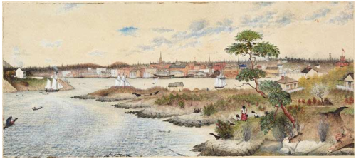 "Edward Mallott Richardson: Victoria Harbour 1864. Source: ""Digging for gold"" pamphlet."