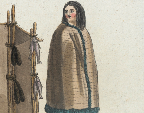 Nootka Sound girl, 1787, detail.  by de Saint-Sauveur, source: LACMA.