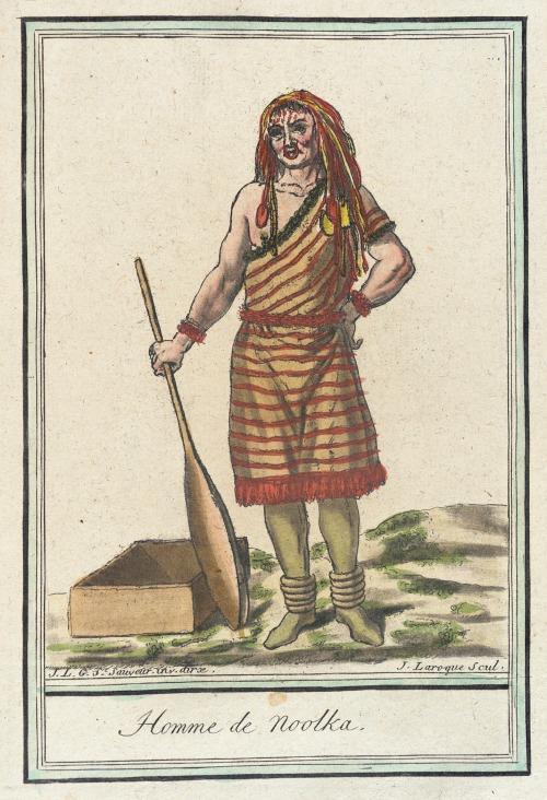 Nootka Island Man, 1787.  by de Saint-Sauveur, source: LACMA.