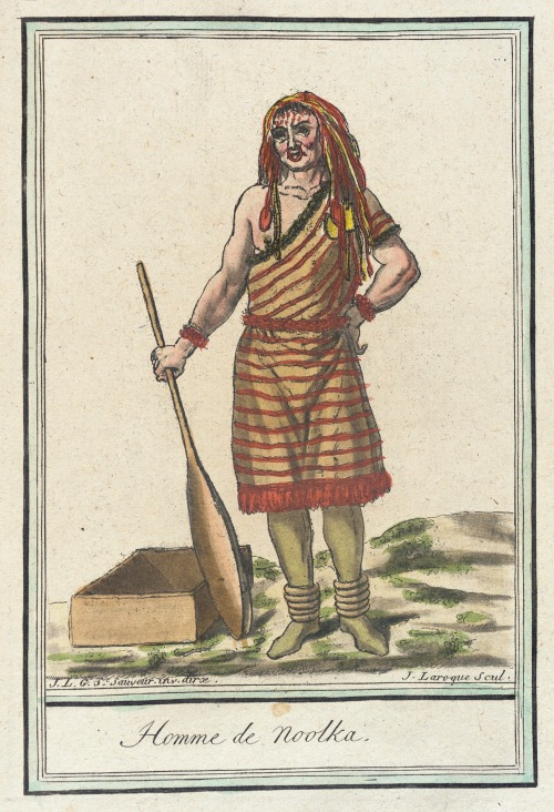 Nootka Island Man, 1787.  by de Saint-Sauveur, source: LACMA.