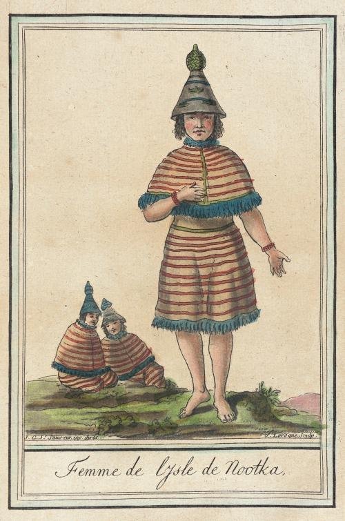 Nootka Sound woman, 1787.  by de Saint-Sauveur, source: LACMA.