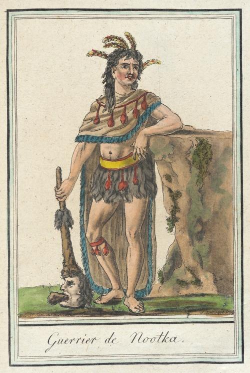 Nootka Island Warrior, 1787.  by de Saint-Sauveur, source: LACMA.