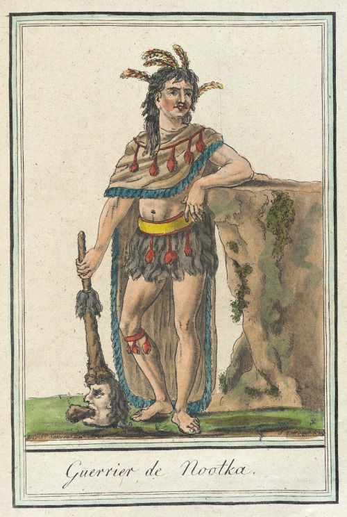 Nootka Island Warrior, 1787.  by de Saint-Sauveur, source: LACMA.