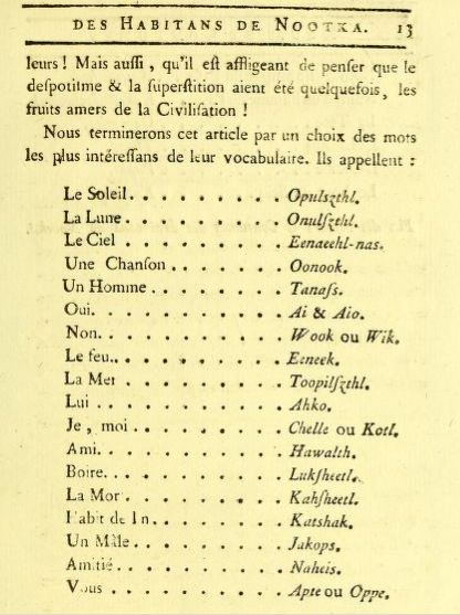 Some words from Noota Island, from Saint-Sauveur 1787