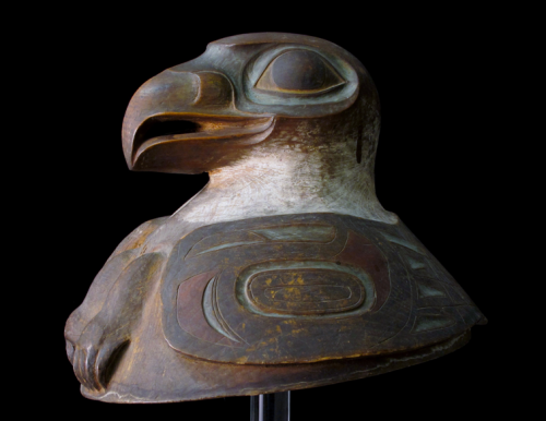 Tlingit war helmet recently rediscovred in Springfield Science Museum.  Source: SSM.