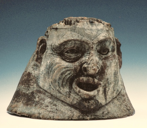 Tlingit helmet suggestive of Bell's Palsy