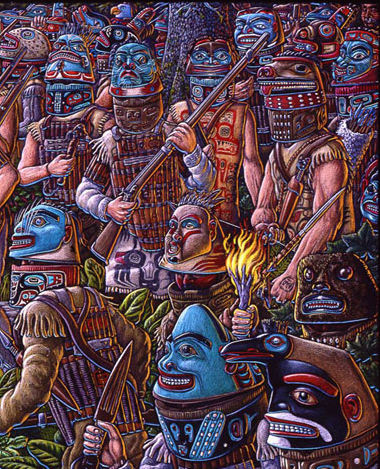 "Detail from ""The Battle of Old Sitka, JUne 1802"" by Ray Troll.  Click for Troll website."