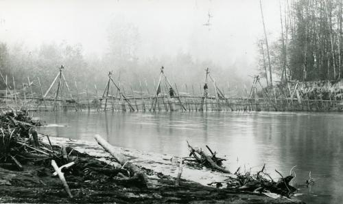 Yelm Jim's fish weir on the Puyallup River ca. 1885. Click for high resolution.  Source:  http://www.digitalarchives.wa.gov/Record/View/DAA73FC7A57E989D65B6DBEA419FC89E