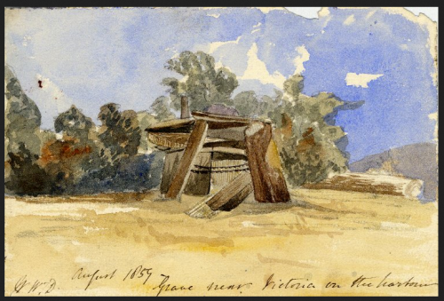 Grave near Victoria on the harbour, 1859, by William Tyrwhitt-Drake.  Source: British Museum. Click for their record and verso.