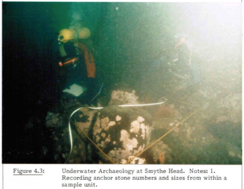 Underwater Archaeology of Straits Salish Reef Netting - anchor stones. Source: N.A. Easton MA thesis p.69.