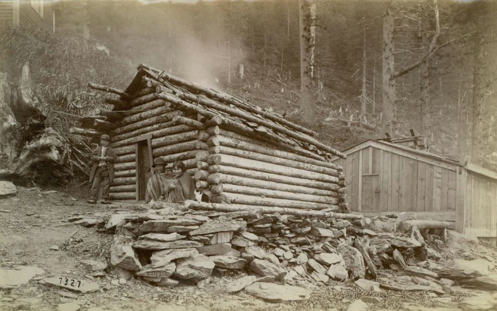 Tlingit house with stone wall foundation near Juneau, Alaska. Source: SHI Archives, Richard Wood collection. http://goo.gl/hH9Pfl