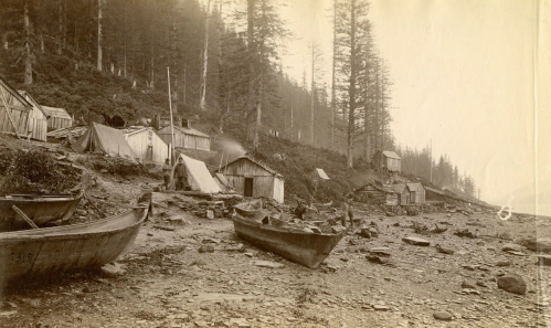 "Albumen print photograph showing a view of T'aaku Kkwáan Tlingit homes in the Gastineau Channel, labeled ""Indian huts near Juneau,"" photograph by William Partridge, 1886. # 7319. Image shows T'aaku Khwáan village with houses, canoes, tents, and people on the beach."