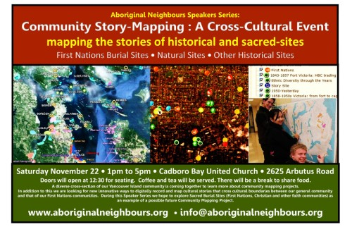 Community Story Mapping Poster, November 22nd, Victoria.