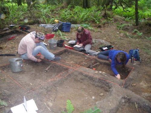 UVic field school students at work on Prevost Island inland midden site.