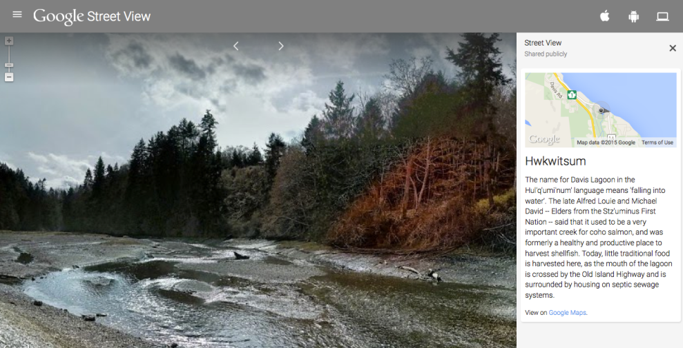 Hwkwitsum (Davis Lagoon) on Google Street View. Screenshot from Google. Click to visit site.
