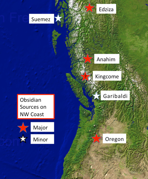 Simplified map of prominent known obsidian locations in the NW. Source: qmackie slides.