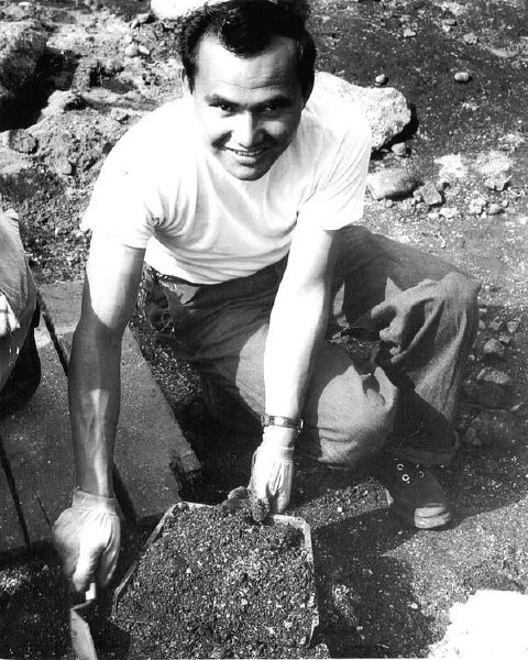 As a young man, Andrew C. Charles, of Musqueam, worked with archaeologist Charles Borden, excavating the at c̓əsnaʔəm in 1955.