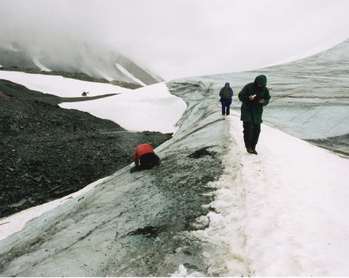 View of the glacial edge high in the Tatsenshini where Kwäday Dän Ts'ìnchi was found in 1999.