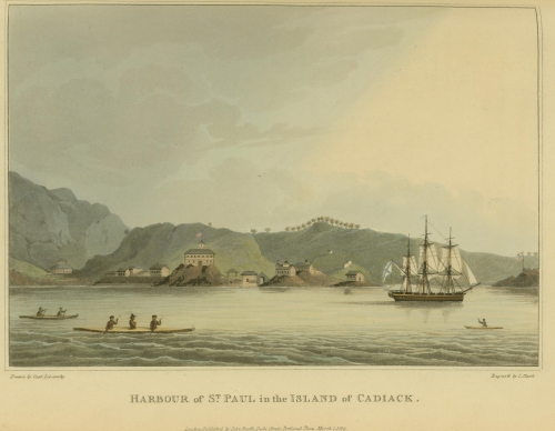 Print showing the Neva at anchor in St Paul, Kodiak Island. Source: Paul McMahon via NSF.