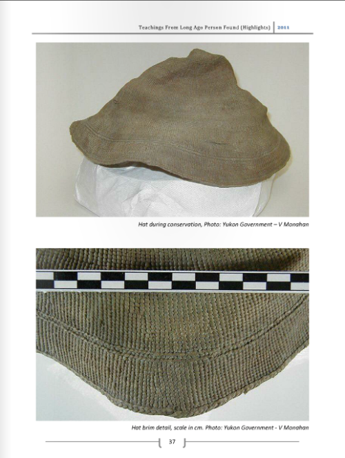 Twined spruce root hat of KDT undergoing conservation. Source: RBCM ISSUU document online. Click for document.
