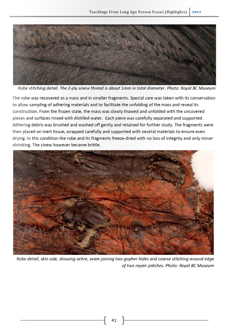 Screenshot of RBCM ISSUU document showing robe of Kwäday Dän Ts'ìnchi undergoing conservation. Click for document.