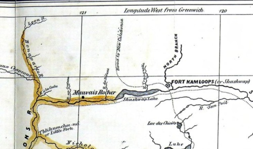 Anderson's map Kamloops area 1858. Note R. aux Chapeaux (Hat Creek) and R. de la Cache (Cache Creek to west; Shushwap Lake (Kamloops Lake) and the North Branch (of the Thompson River).