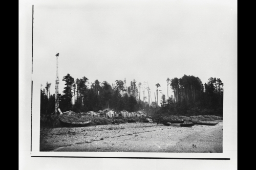 Haida town of Da'dens in 1878, photo by George Dawson, source: NMC.