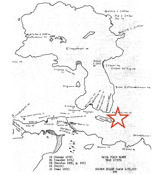 Approximate find spot of olive jar near Haida town of Dadens. I don't actually know the exact spot and wouldn't post it if I did... Base map from Gessler 1974.