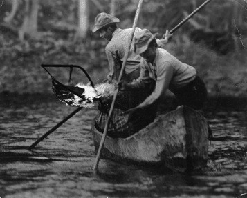 """Lamp fishing at Gitanmaax, which means, """"Place of Fishing with Lamp"""". Source: BRC https://goo.gl/4w9WVq"""