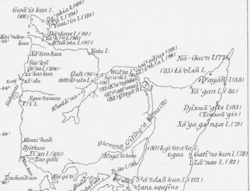 Newcome Map of Northern Haida towns; Da'dens in upper left.