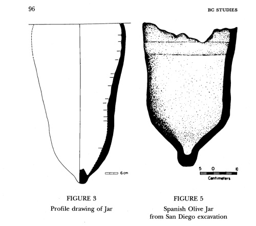 Olive Jar diagram from Williams et al 1992. - Langara example on left, comparable San Diego example on right.