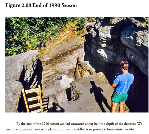 Stratigraphy visible at the end of the 1990 field season. Source: SFU download.