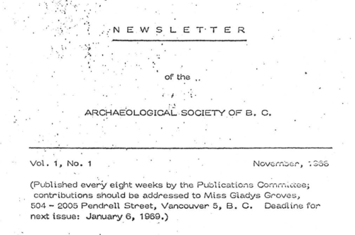 Cover, Volume 1, Number 1 (Nov. 1968) of the ASBC newsletter, soon to become The Midden.