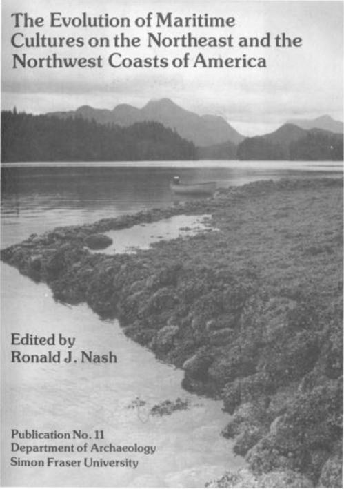 Cover of Nash (ed) 1983. The cover of this widely-cited collection might be the earliest (albeit unintentional) picture of a clam garden in the archaeological literature.