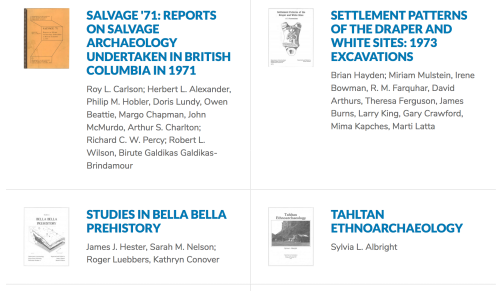 Downloadable Selections from the Online Catalogue of SFU Archaeology Press.