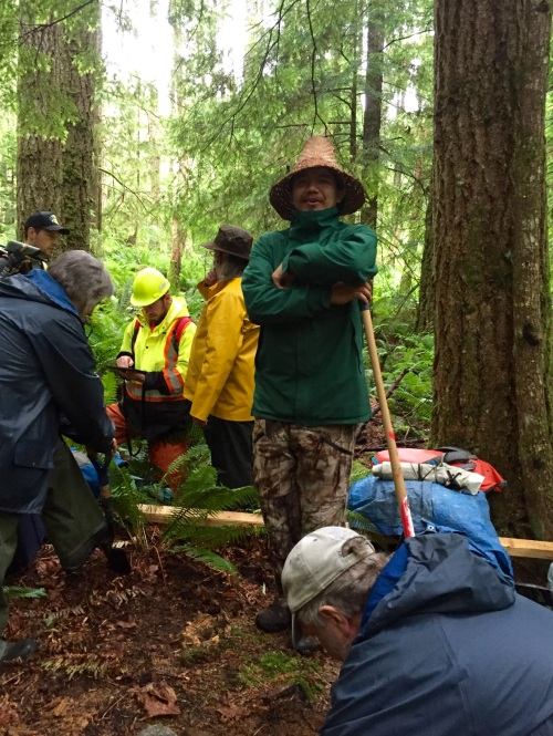 Louie Wilson commanding the shovel bums on Quadra Island. Source: qmackie
